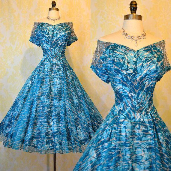 Vintage 50s Silk Dress M - Aqua Tiger Print - Floral Illusion - Beaded Off Shoulders