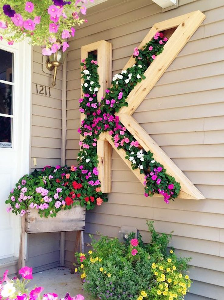 Monogram flower planter for the front porch