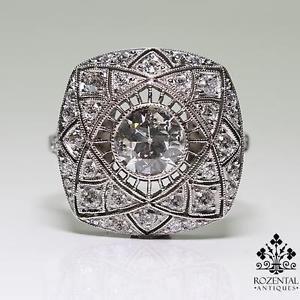 Antique Art Deco Platinum 1ctw Diamond Ring | eBay