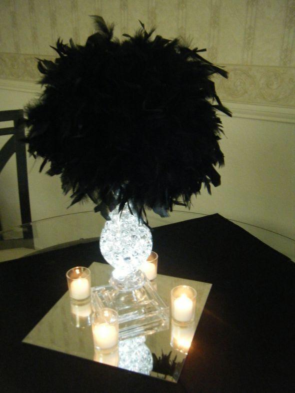 styrofoam ball centerpieces | Bre2Be's feather pom centerpieces : wedding Centerpieces 009
