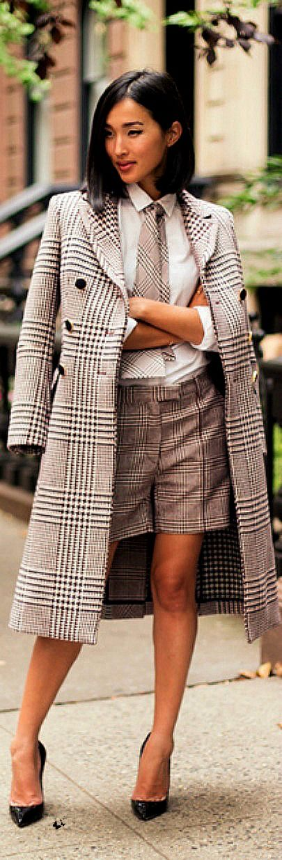 Plaid double breasted coat and shirt/tie set. | More outfits like this on the Stylekick app! Download at http://app.stylekick.com