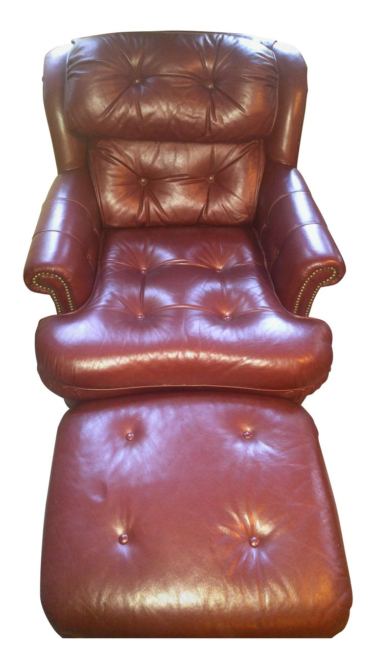 Offered is a traditional burgundy leather chair and