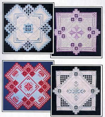 """Homestead Blooms had four designs each stitched in a different color.   The designs are 7.75"""" square on 25-count fabric.  #Hardanger #embroidery #stitching #needlework #doilies"""