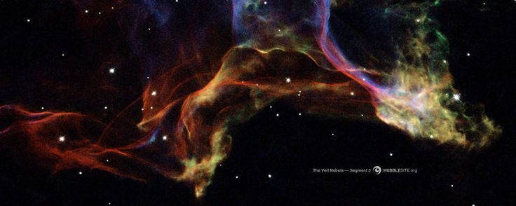The Veil Nebula, left behind by the explosion of a massive star thousands of years ago, is one of the largest and most spectacular supernova remnants in the sky.  The image was taken with Hubble's Wide Field Planetary Camera 2 in November 1994 and August 1997.