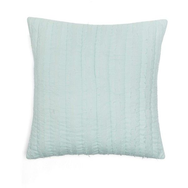 Nordstrom at Home Eyelash Fringe Euro Sham (18.835 CRC) ❤ liked on Polyvore featuring home, bed & bath, bedding, bed accessories, teal surf, teal bedding, nordstrom bedding, stripe bedding, teal euro sham and teal blue bedding