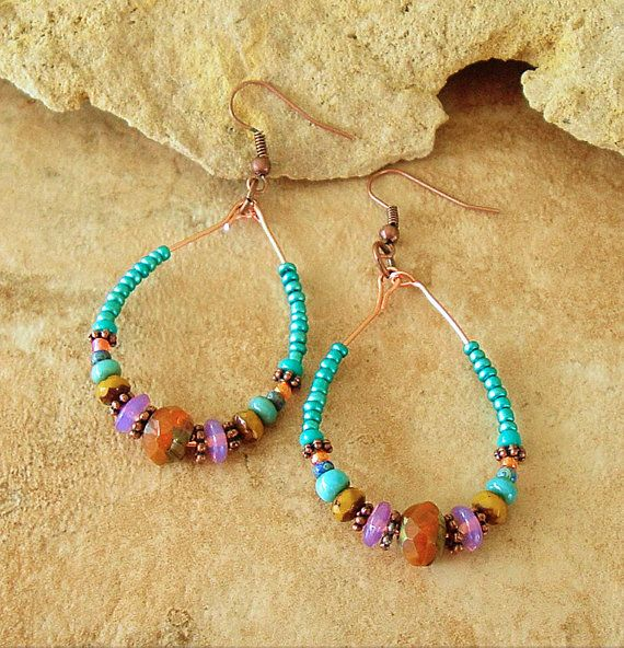 Boho Autumn Beaded Hoop Earrings, Fall Fashion, Copper Wire Bohemian Earrings, Picasso Glass Bead Earrings, Bohemian Gypsy