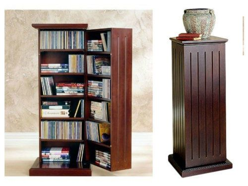Media-Storage-Cabinet-With-Door-DVD-CD-Multimedia-Pedestal-Cherry-Stereo-Tower