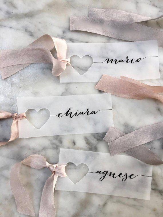 Vellum Place Cards, Wedding Place Cards, Place Cards, Name Tag, Wedding Name Tags, Heart Name Tags, Heart Place Cards, Vellum Name Tags, Day