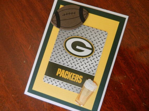 This original handmade greeting card is a great card to send to a Green Bay Packer fan for their birthday. This card is made with an authentic Green