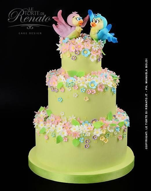 """""""Love""""  wedding cake  ~ birds are hand made,   flowers are made from sugarpaste ~  ~ all edible"""