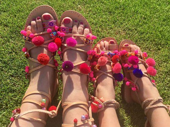 Mommy and me  Boho Sandals toddler gladiator sandals-pompom