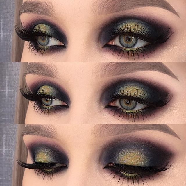 """IG Inspiration: Inspired by the northern lights ✨ I used @urbandecaycosmetics electric palette (shadows: chaos, freak and thrash) and eyeshadow blackout   @kikomilano high pigmented eyeshadow """"infinity""""   @inglot_cosmetics eyeshadow 615, falsies in 30N and eyeliner gel in 77   @makeupstore eye pencil in tropical   @anastasiabeverlyhills browWiz in taupe ☺️ #makeupartist #fiercesociety #makeupaddict #mua #motd #makeup #wakeupandmakeup #vegas_nay #eotd #fotd"""