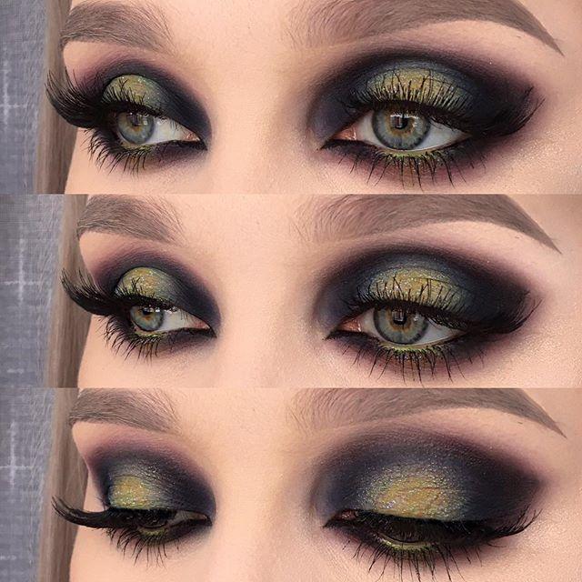 "Inspired by the northern lights ✨ I used @urbandecaycosmetics electric palette (shadows: chaos, freak and thrash) and eyeshadow blackout | @kikomilano high pigmented eyeshadow ""infinity"" | @inglot_cosmetics eyeshadow 615, falsies in 30N and eyeliner gel in 77 | @makeupstore eye pencil in tropical | @anastasiabeverlyhills browWiz in taupe ☺️ #makeupartist #fiercesociety #makeupaddict #mua #motd #makeup #wakeupandmakeup #vegas_nay #eotd #fotd"