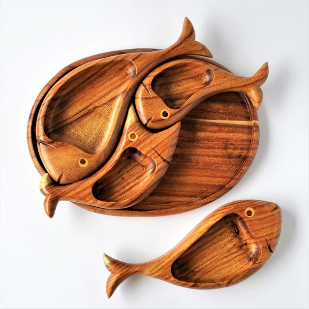 Trays – Four fish wooden snack set, wooden platter, plate – a unique product by Omar-Handmade on DaWanda