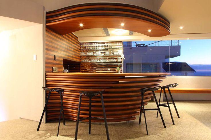 Unique wooden bar, views, down lights