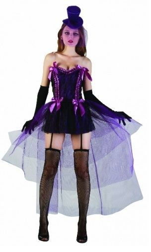 Women Ladies Sexy Western Saloon Girl Fancy Dress Purple Moulin Rouge Burlesque #WN #CompleteOutfit