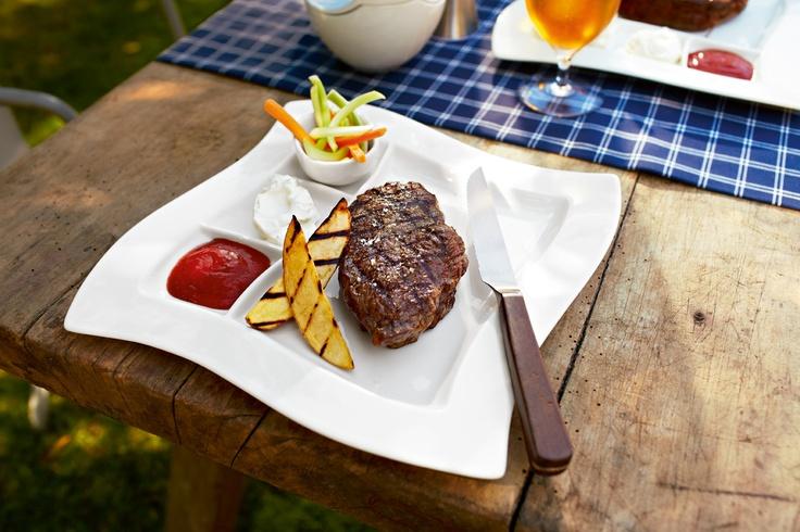 Grilovací talíř Newwave a steakový příbor Texas - prefektní partneři pro grilování www.luxurytable.cz