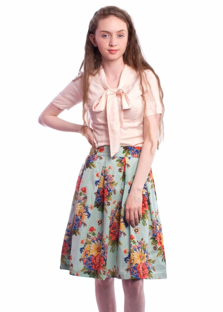 The floral Anita skirt from Circus, available exclusively at ilovecarousel.com! #skirt #floral #vintage #retro #style #1950s #summer #fashion #circus #carousel