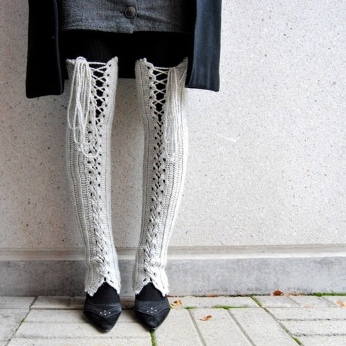 Etsy Crocheted Thigh High Lace Up Leg Warmers in Light Gray from Sannica's store here.