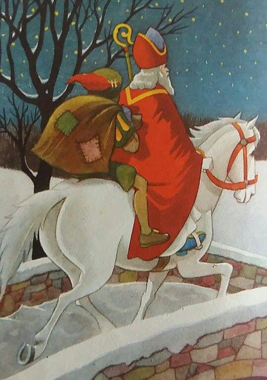 Illustratie : Sint en Piet op paard