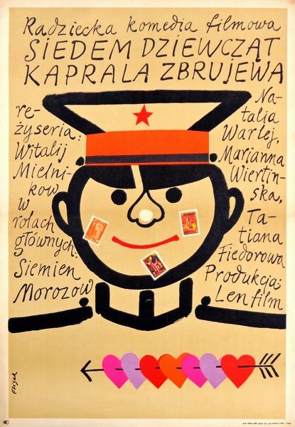 The Seven Brides of Lance-Corporal Zbruyev Siedem dziewczat kaprala Zbrujewa Flisak Jerzy Polish Poster