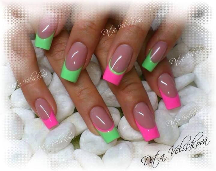 Pink Green Mint French Manicure Summer Nail Art In 2019 Colorful Nail Designs French