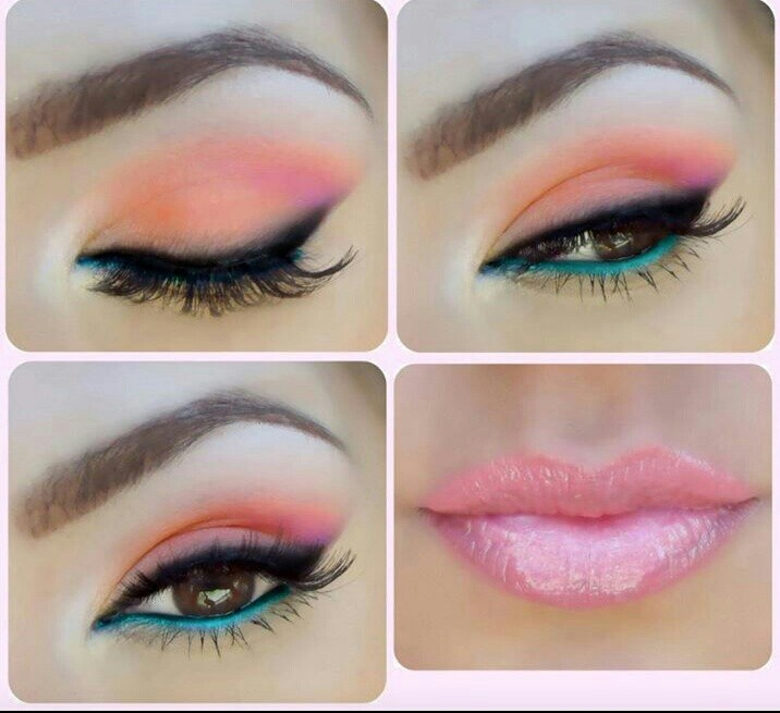 Pink and light blue make up