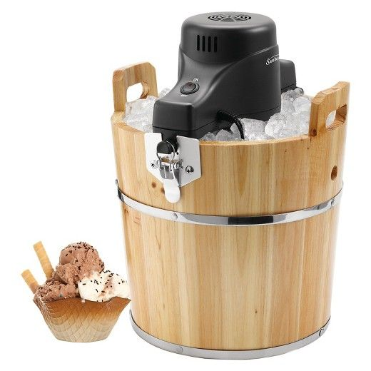 Remember 4th of July picnics from years past? Taking turns churning the ice cream, eagerly awaiting that first scoop? Bring the nostalgia home with this family-friendly ice-cream maker. Housed in an antique-looking solid-pinewood bucket, but with a motorized electric crank (so you don't have to work so hard), the unit makes up to 4 quarts of delicious homemade ice cream at a time.  Simply add rock salt and ice to the bucket and ice-cream mix and other ingredients to the inner container, a...