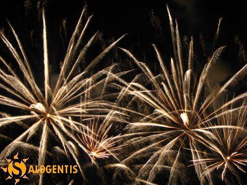 Fuochi d'artificio durante le tipiche celebrazioni in onore della Madonna Assunta a Santa Maria di Leuca
