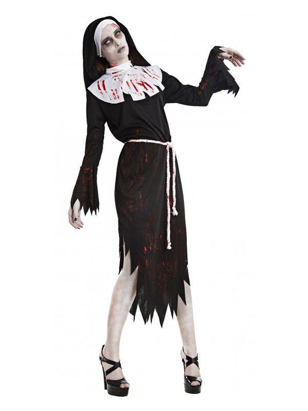 El disfraz monja zombie mujer, incluye Vestido, cinturón y tocado en DisfracesMimo.com