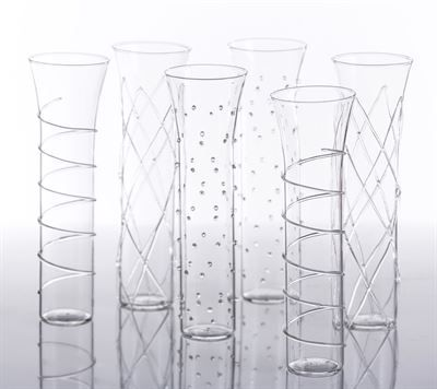 Abigail's Razzle Dazzle Champagne Flutes with Clear Accents, Set of 6*