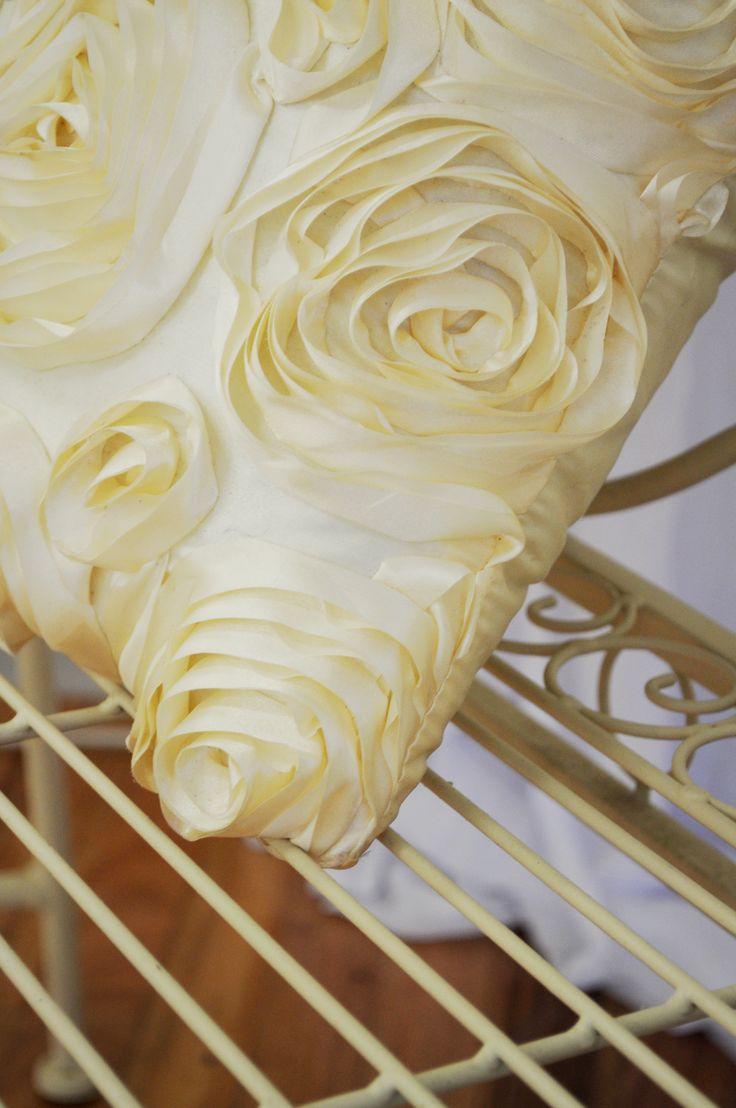 Cream Rose Satin Cushion used on Vintage Metal Lounge Settee