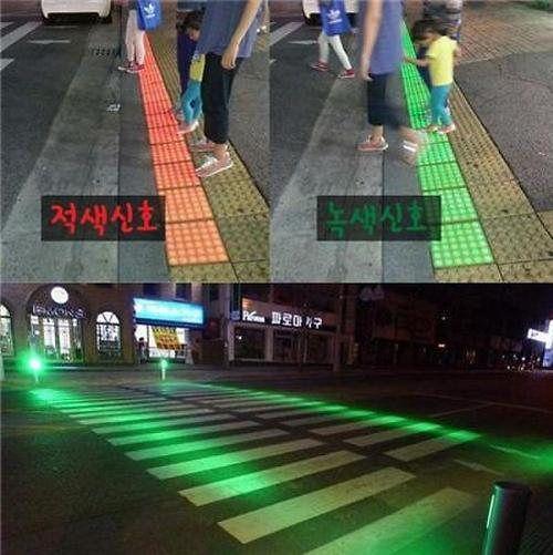 韓國人行道用LED指引行人安全通行 - LEDinside