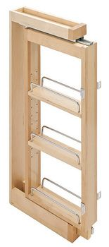 """3"""" wide pull out spice rack for upper kitchen cabinets with soft close full extension drawer slides"""