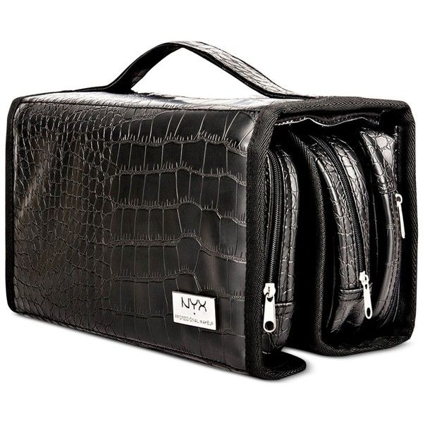 Nyx Professional Makeup Black Croc-Embossed Deluxe Makeup Bag (39 CAD) ❤  liked