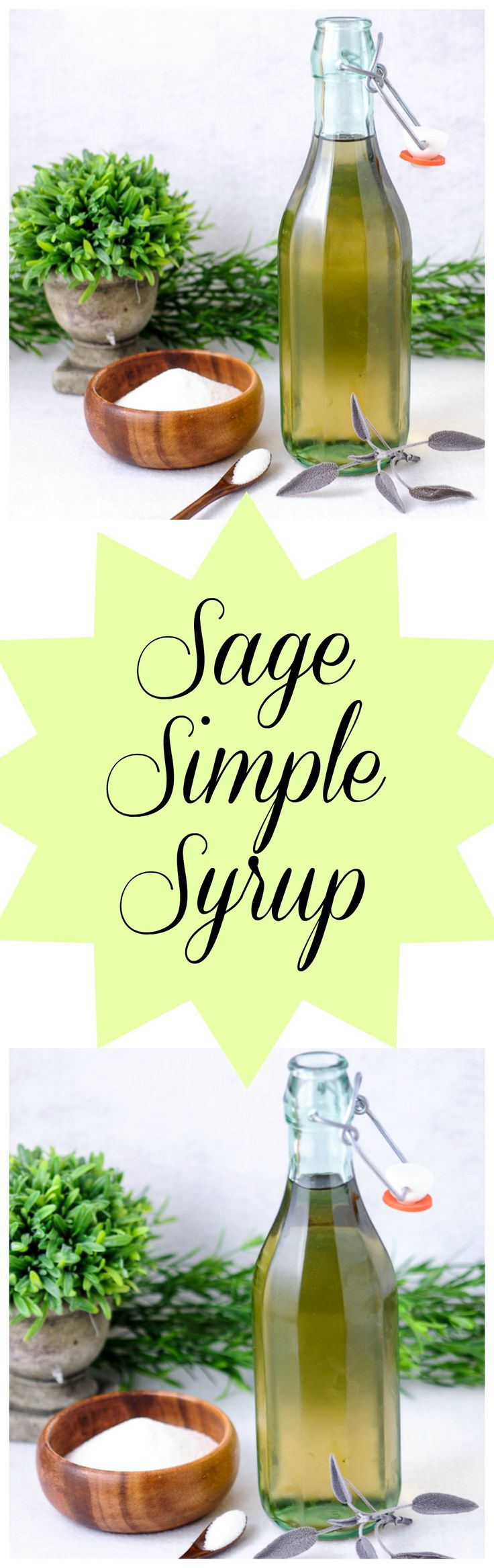 Sage Simple Syrup - Sage, sugar, and water. Great for ❤.❥ ❥ ❥ ❥❥‿↗⁀❥♥‿↗⁀❥♥‿↗⁀❥♥♥x. cocktails, teas, mocktails
