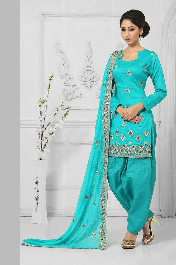 Blue Cotton Punjabi Salwar Suit with Dupatta