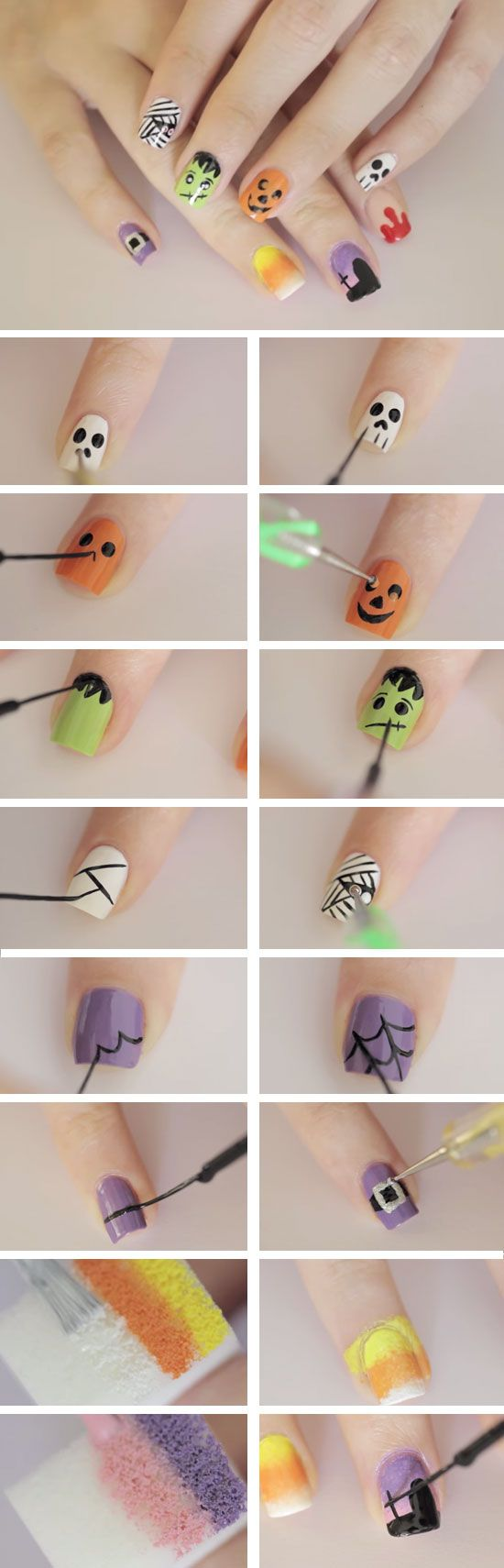 Ghoulish Shapes + Figures | Click Pic for 23 Spooky Nail Art Ideas for Halloween | DIY Halloween Nail Art for Kids