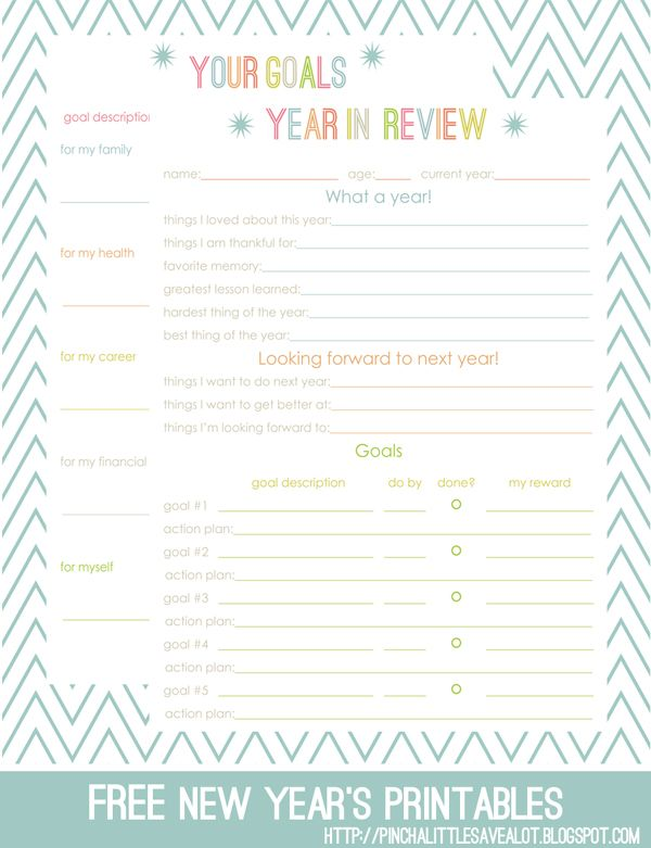 Pinch A Little Save-A-Lot: Free: End of the Year Review and New Year's Goals