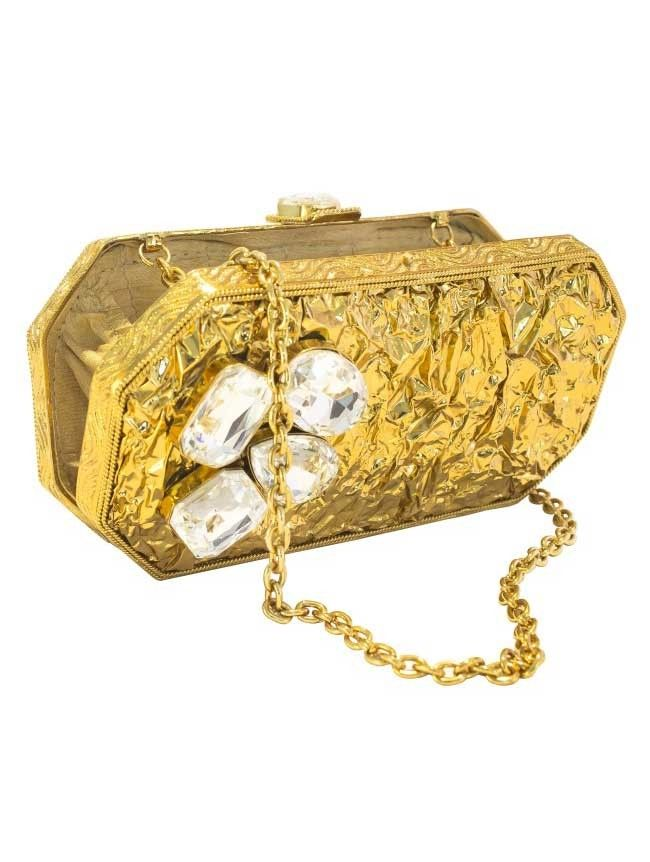 Golden Girl - Gold Ridges with Large Diamonds Clutch
