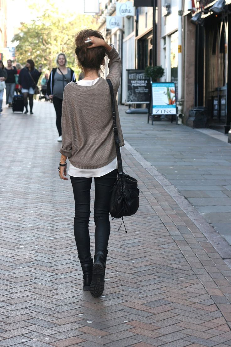 H&M sweater, Topshop coated skinnies, River Island silk pocket tank, All Saints bag, boots from eBay, jewellery from Morocco, a Nottingham boutique and Fashionology