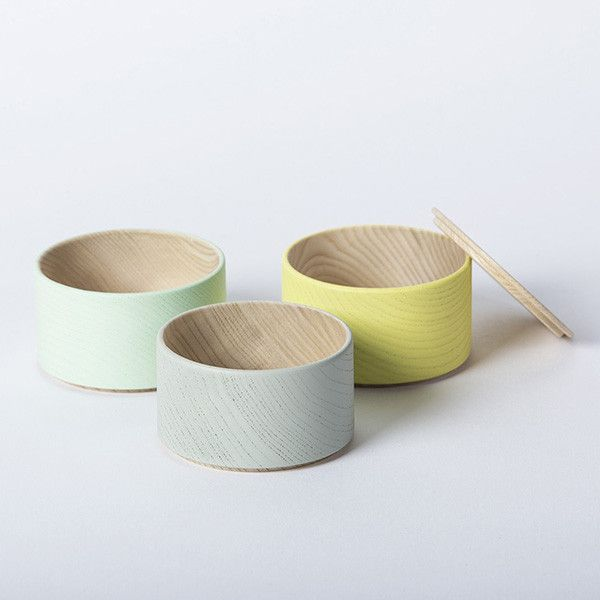 Border Stripes 'Tall' Canisters designed by studio mute. These storage containers are made using the 'rokuro' electric turning wheel, a coat of food grade urethane is applied to protect and showcase beauty of the wood grain.