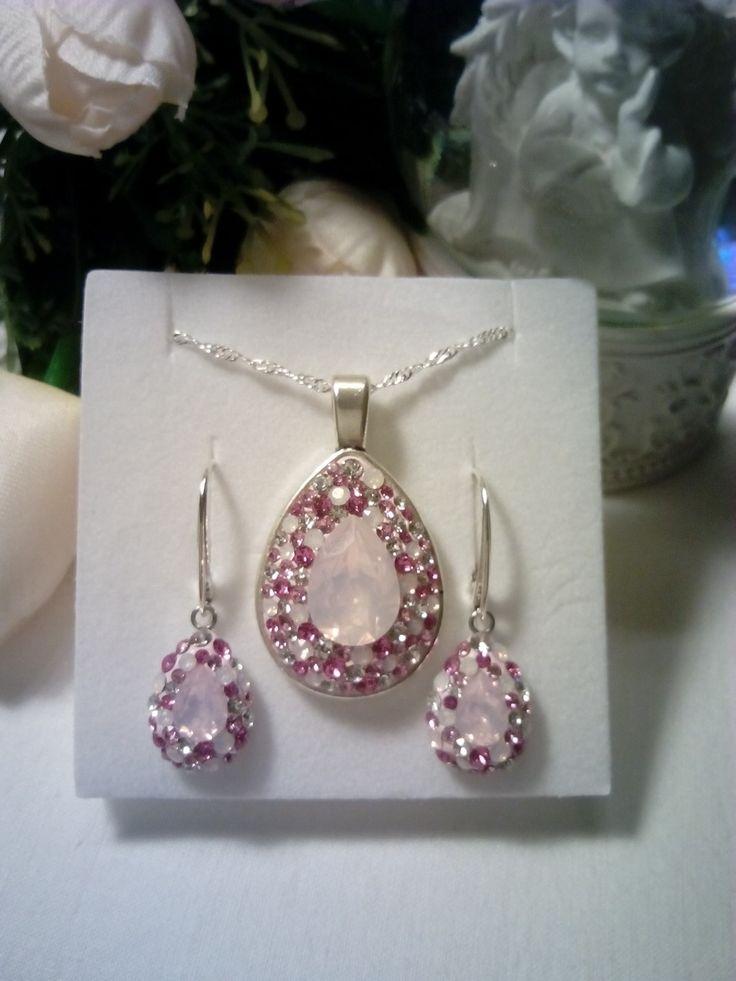 Rose water opal Swarovski crystals jewelry set.