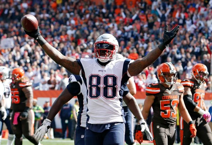 Patriots vs. Browns:     October 9, 2016   -  33-13, Patriots  -     New England Patriots tight end Martellus Bennett celebrates a touchdown catch against the Cleveland Browns in the first half of an NFL football game Sunday, Oct. 9, 2016, in Cleveland.