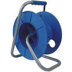 CARRO DE MANGUERA PLASTICO AZUL 50MT. Enrollacables, para cables de señal de audio, video o dmx, con cuerpo de plástico y brazo de metal. Me...