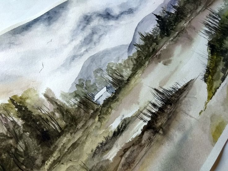 Watercolor Painting, Handmade, Gift, Wall Hanging, Home Decor, Landscape, Nature