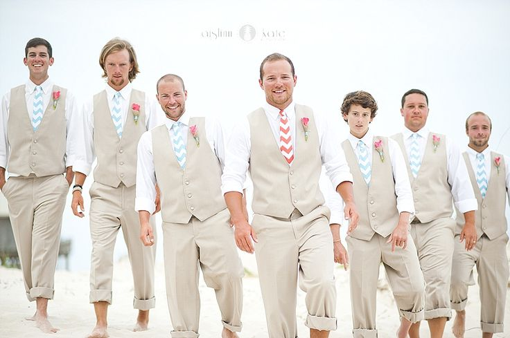 Tan suits  |  Chevron ties  |  Linen vests  |  Turquoise ties  |  Coral ties  |  Coral bridesmaids dresses  |  Beach weddings  |  Wedding photos  |  Aislinn Kate Photography |  Pensacola Destin Wedding Photography