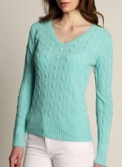 Women's Cable V-neck Turquoise 100 % Cashmere  www.softgoat.com