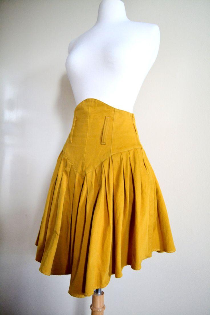 Vintage 80s High Waisted Denim Pleated Skirt Mustard Yellow Riding Skirt (30.00 USD) by JoyDestroyVintage