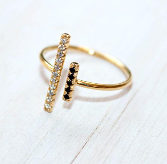 Geometric Bar Ring. Bar 14K Solid Gold Ring. by DanelianJewelry